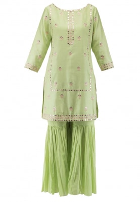 Pista Green Mirror Work Kurta Paired with Gharara Pants and Dupatta