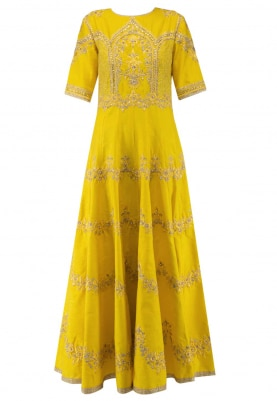 Yellow Embroidered Anarkali with Churidar and Coral Dupatta