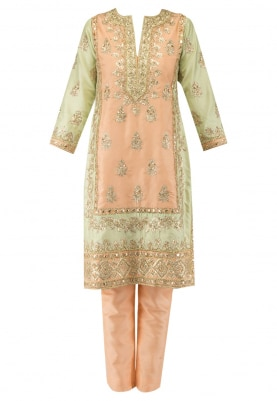 Peach & Pista Color Block Kurta with Peach Cigratte Pant and Net Dupatta