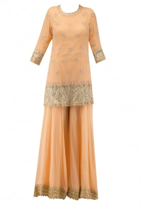 Peach Embroidered Short Kurta with Sharara Pants