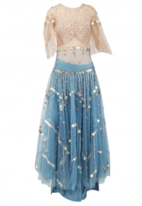 Blue Lehenga and Nude Choli