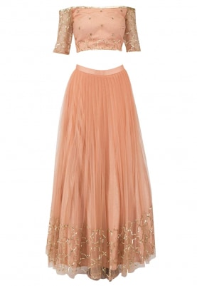 Blush Peach Lehenga with Off-Shoulder Embroidered Choli Set