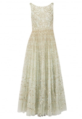 Light Greem Gown with Gold Sequin Hand Work All-Over