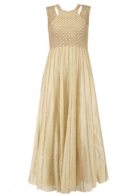 Yellow-Olive Gown with Jaal Work On Bodice Along with Line Work On Attached Kali