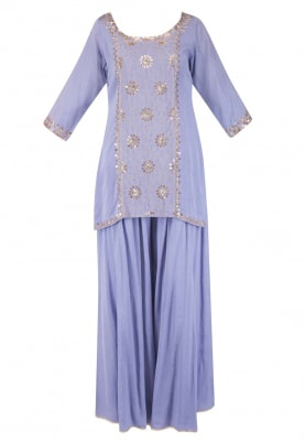 Periwinkle Blue Kurta, Sharara and Dupatta, with Sequin and Zari Work On Center Front Panel Of Kurta