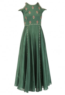 Green Gown with Drop Sholder with Sequin, Dabka and Zari Work All-Over Bodice