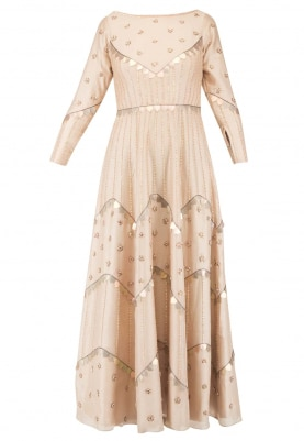 Peach Nude Kalidar Gown with Sequin Work All-Over Hand Embroidered In Pattern
