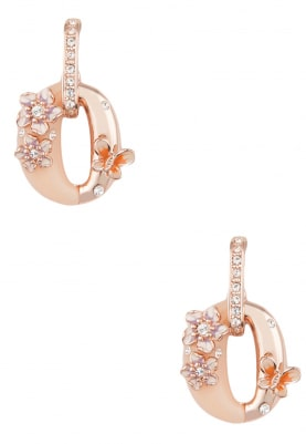 Rose Gold Plated Swarovski Crystal Studded Oval Earrings