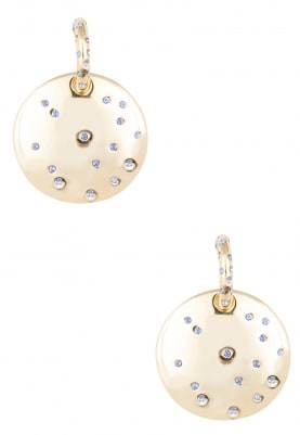 Gold Plated Purple Swarovski Crystal Round Plate Earrings