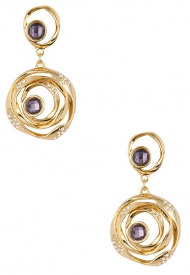 Gold Plated Swarovski Crystal Studded Spiral Earrings