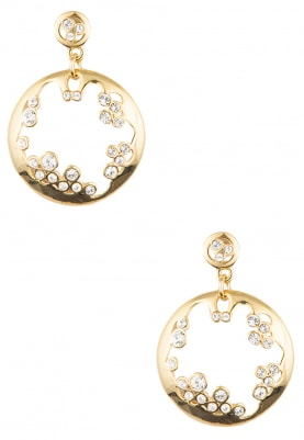 Gold Plated White Swarovski Crystal Studded Round Earrings