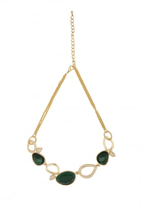 Gold Plated Emerald and Swarovski Studded Necklace