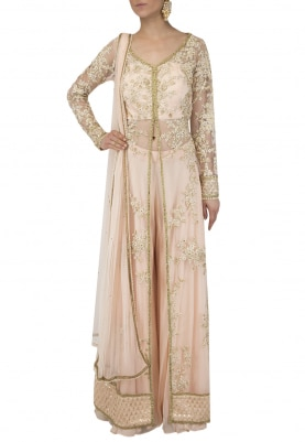 Light Peach Jacket and Sharara Set
