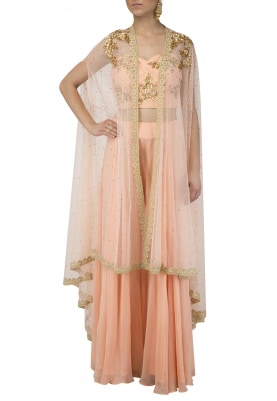 Peach Bustier and Sharara with Mint Green Dupatta