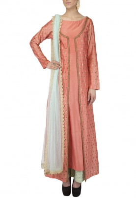 Peach Chanderi Kurta with Aqua Plazo & Dupatta