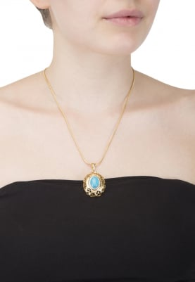 Gold Plated Turquoise Stone Studded Pendant Chain