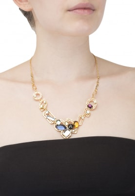 Gold Plated Multicolor Swarovski Studded Necklace
