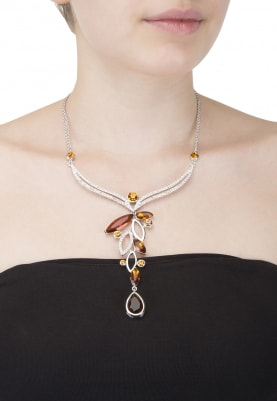 Silver Plated White, Yellow and Brown Swarovski Necklace