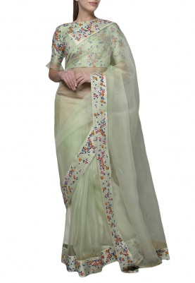 Pastel Green Dori Thread Work Saree