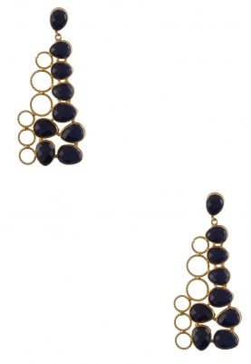 Gold Polish Blue Stone Studded Earrings