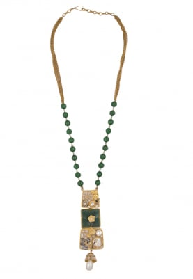Gold Finish Green Enamelled Necklace