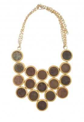 Gold Finish Multicolor Stone Coin Necklace
