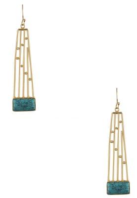 Gold Finish Green Semi Precious Stone Earrings
