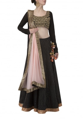 Black Dotted Lehenga and Embroidered Choli and Peach Dupatta.