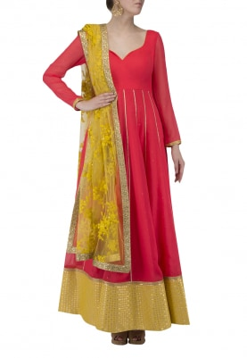 Coral Anarkali with Mukaish Work, Net Dupatta with Dori and Sequin Work Highlighta