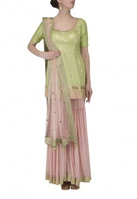 Presenting Green Short Kurta Paired with Pink Gharara and Dupatta
