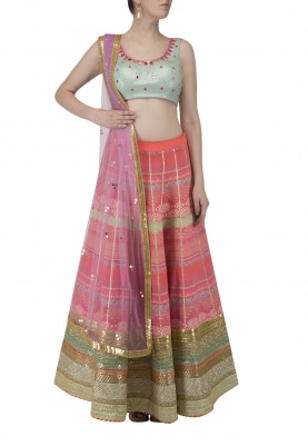 Pink Lehenga and Sky Blue Contast Color Work Choli and Dupatta