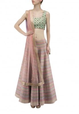 Pink Woven Lehenga Wirh Aqua Crop Choli and Mukaish Dupatta