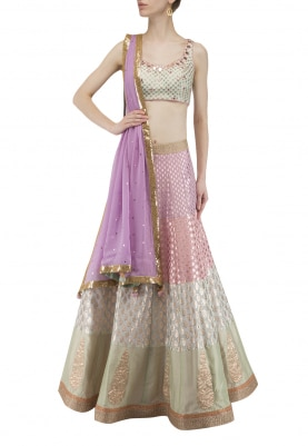 Multi Color Banarsi Lehenga with Sequin and Mirror Work Choli and Mukaish Dupatta