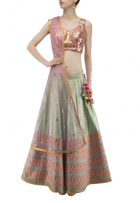 Aqua Pink Banarsi Lehenga and Choli with Mukaish Transparent Dupatta