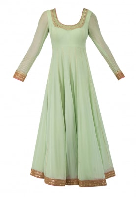 Mint Green Anarkali with Pearl and Zardozi Work, Mukaish Work Dupatta and Churidar