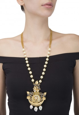 Gold Finish Pearl Stranded Necklace