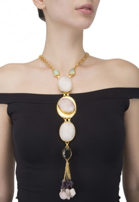 Gold Finish Pink Stone Studded Necklace
