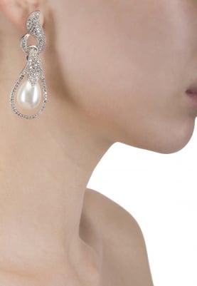 Silver Finish Zircons Studded Earrings