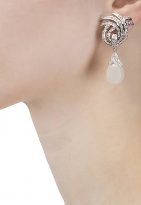 Silver Finish Zircons and Pearl Earrings