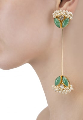 Gold Finish Green Stone and Baby Pearl Earrings