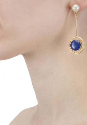 Gold Finish Pearl and Blue Stone Earrings