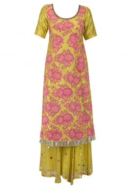 Yellow Kurta with Patch Work, Sharara and Tie & Dye Dupatta