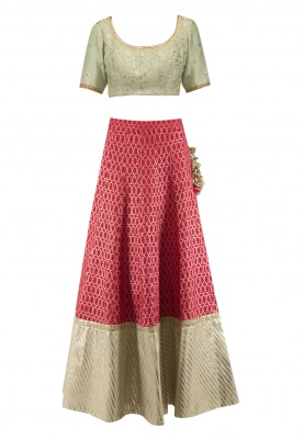 Pink Banarsi Golden Border Lehenga, Chanderi Choli and Mukaish Dupatta