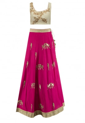 Pink Bird Motif Lehenga with Green Zardozi Work Choli and Net Dupatta