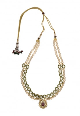 Gold Plated Kundan and Pearls Necklace