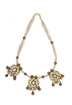 Gold Plated Hyderabad Pearls and Kundan Fittings Necklace