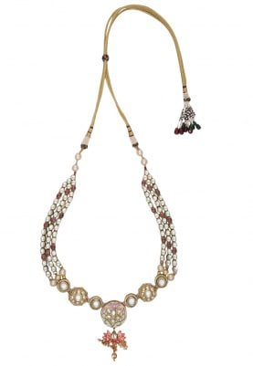 Gold Plated Kundan, Magenta Stones and Polkis Necklace