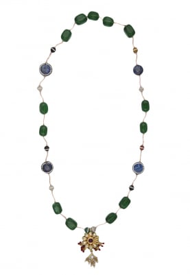 Gold Finish Kundan Pendant In Emerald and Blue Neckpiece