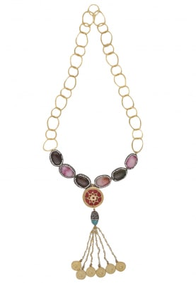Gold Plated Meenakari Pendant Necklace