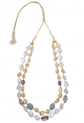 Two Lines Cream and Off White Baroque Chain
